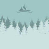 Summer Camp. Image of Nature. Tree Silhouette. Vector Illustrati Stock Images