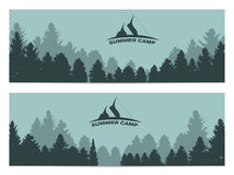 Summer Camp. Image of Nature. Tree Silhouette. Vector Illustrati Stock Photos