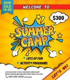 Summer camp invitation banner. Summer camp invitation banner with handdrawn lettering in comic speech bubble on halftone background. Let`s go camping and royalty free illustration
