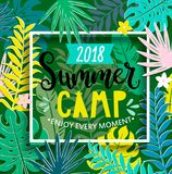 Summer camp 2018 in jungle. Summer camp 2018 with handdrawn lettering in square frame on jungle background with tropical leaves. Vector illustration royalty free illustration