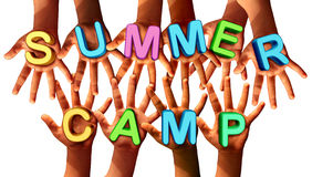 Summer Camp Kids. As multi ethnic school chldren with open hands holding letters as a symbol of recreation and fun education with a group working as a team for Royalty Free Stock Photography