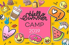 Summer Camp 2019 for kids creative and colorful poster with emoticon stickers, vector illustration.  royalty free illustration