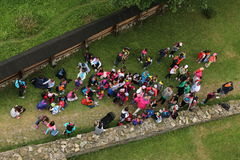 Summer camp kids. Large group of kids, children youth at summer campnPhotograph from above stock images