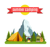 Summer camp. Landscape with yellow tent, royalty free illustration