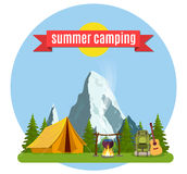 Summer camp. Landscape with yellow tent, stock illustration