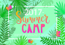 Summer camp 2017 lettering on jungle background. Royalty Free Stock Photography