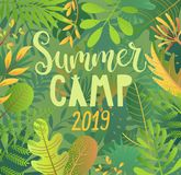 Summer camp 2019 lettering on jungle background. Summer camp 2019 lettering on jungle background with tropical leaves. Interesting adventure in jungle or forest royalty free illustration