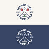 Summer camp logo set consisting of tent, fire and sweet. Summer camp logo set color and line style consisting of tent, fire and sweet for travel badge, tourist Royalty Free Stock Photos