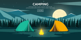 Summer camp. Night Camping. Campfire. Pine forest and rocky mountains. Starry night and moonlight. Nature landscape. Summer camp. Night Camping. Campfire. Pine Stock Photo
