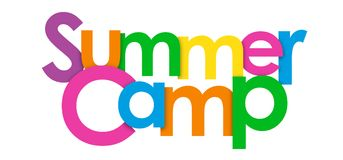 SUMMER CAMP overlapping letters banner. SUMMER CAMP overlapping colorful letters banner. Vector royalty free illustration