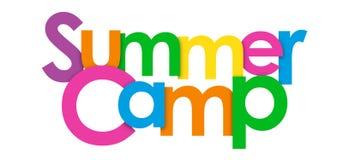 SUMMER CAMP overlapping letters banner. SUMMER CAMP overlapping colorful letters banner. Vector royalty free illustration