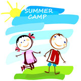 Summer camp poster with cute kids Stock Image