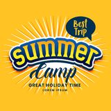 Summer camp poster design in yellow color. Vector royalty free illustration
