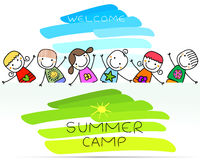 Summer camp poster. With happy kids stock illustration