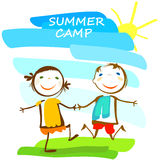 Summer camp poster. With happy kids royalty free illustration
