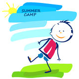 Summer camp poster with little boy Stock Photos