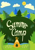 Summer Camp poster. Summer Camp poster with tent and nature.Vector illustration with handdrawn text.Useful for banners, posters, postcards Vector Illustration