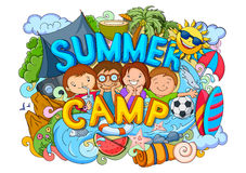Summer Camp poster. Vector illustration of doodle of kids Summer Camp poster Stock Images