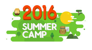 Summer camp poster. Vector illustration. Royalty Free Stock Photos
