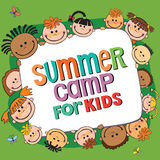 Summer camp poster. Vector illustration. Many kids around the banner, lettering summer camp, Vector illustration vector illustration