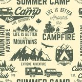 Summer camp seamless pattern or background. Vector illustration. Retro typography design with rv trailer, tent, mountain, campfire, hiker and forest silhouette stock illustration