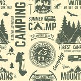 Summer camp seamless pattern or background. vector illustration