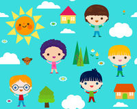 Summer camp seamless pattern Stock Photos