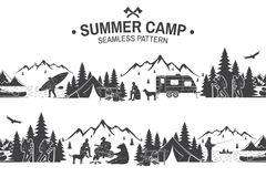 Summer camp seamless pattern. Vector illustration. Outdoor adventure background for wallpaper or wrapper. Seamless scene with mountains, bear, dog, girl, man royalty free illustration
