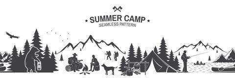 Summer camp seamless pattern. Vector illustration. stock illustration