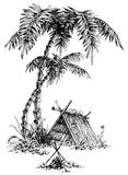 Summer camp sketch. Palm trees vector illustration