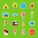 Summer Camp Stickers. Vector Illustration Flat Style. Collection of Seasonal Symbols Stock Photography