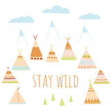 Summer Camp in the style of American Indians. Wigwams, trees, mountains and clouds Stay wild Perfect for children`s design Stock Photos