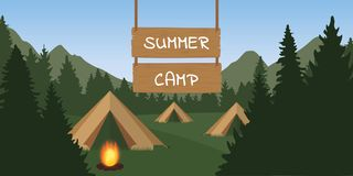 Summer camp tent with campfire in the forest green nature. Vector illustration EPS10 royalty free illustration