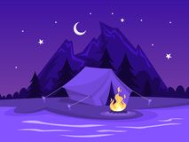 Summer camp. Tent with a campfire at the river. Mountains on the background. Idea of travel and tourism, rest on the nature. Night landscape. Vector stock illustration