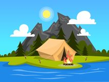 Summer camp. Tent with a campfire at the river. Mountains on the background. Idea of travel and tourism, rest on the nature. Vector illustration in cartoon vector illustration