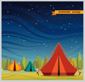 Summer camp - tourist tent at night. Royalty Free Stock Photos