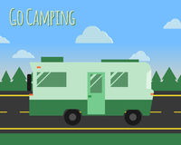 Summer camp travel poster logo badge. Motorhome on. The road. Outdoor activity and vacation banner. Vector illustration Royalty Free Stock Photos