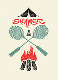 Summer camp typographic retro grunge poster. Vector illustration. Royalty Free Stock Photo