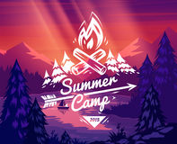 Summer camp typography design on vector background royalty free illustration