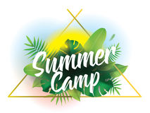 Summer camp. Vector background for posters and banners. Summer camp. Vector background with typography for posters and banners. Illustration with tropical stock illustration