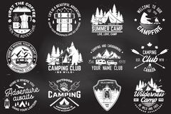 Summer camp. Vector. Concept for shirt or patch, print, stamp. Vintage typography design with rv trailer, camping tent. Summer camp. Vector. Concept for shirt or royalty free illustration
