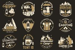 Summer camp. Vector. Concept for shirt or patch, print, stamp. Vintage typography design with rv trailer, camping tent. Summer camp. Vector. Concept for shirt or vector illustration
