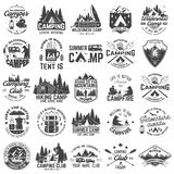 Summer camp. Vector. Concept for shirt or patch, print, stamp. Vintage typography design with rv trailer, camping tent. Summer camp. Vector. Concept for shirt or stock illustration