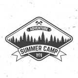 Summer camp. Vector illustration. Concept for shirt or logo, print, stamp or tee. Vintage typography design with axes and forest silhouette. Camping badge Stock Image