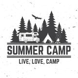 Summer camp. Vector illustration. Concept for shirt or logo, print, stamp or tee. Vintage typography design with rv trailer, camping tent and forest silhouette royalty free illustration