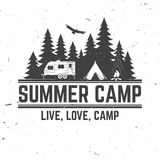 Summer camp. Vector illustration. Concept for shirt or logo, print, stamp or tee. Vintage typography design with rv trailer, camping tent and forest silhouette vector illustration
