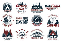 Summer camp. Vector illustration. Concept for shirt or logo, print, stamp or tee. Vintage typography design with rv trailer, camping tent, campfire, bear, man stock illustration