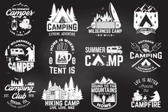 Summer camp. Vector illustration. Concept for shirt or patch, print, stamp. Vintage typography design with rv trailer royalty free illustration