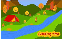 Summer camp. Wildlife landscape with tents. Camping and tourism. Vector illustration stock illustration