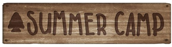 Summer Camp Wooden Sign. Summer Camp Sign Wooden arrowhead hand carved boys girls scouts rustic vector illustration